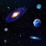 Galaxy. 3d render generate galaxy and planets background Stock Photo