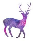 Galaxy deer. Hand-drawn cosmic deer Stock Photo