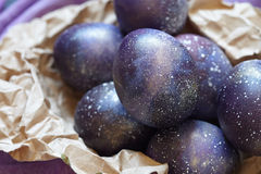 Galaxy Easter eggs royalty free stock photo