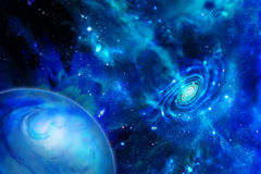 Galaxy emitting substance and the planet royalty free illustration