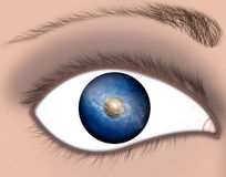 Galaxy Eye. An illustrated eye reflects a galaxy stock illustration