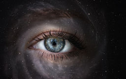 Galaxy with eye. Space galaxy with human eye. Concept image Stock Image