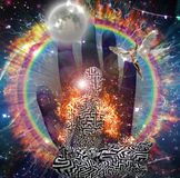 Burning aura. Galaxy and fire ring. Man with maze pattern in lotus pose. 3D rendering. Some elements credit NASA Stock Photography