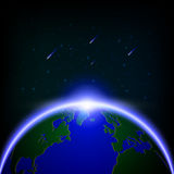 Galaxy Global illuminated and Meteor Showers, Vector illustratio. N royalty free illustration