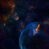 Galaxy illustration, space background with stars, nebula, cosmos clouds Stock Images