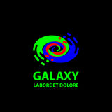 Galaxy logo template. Flat blue and green abstract spiral symbol. Royalty Free Stock Photos