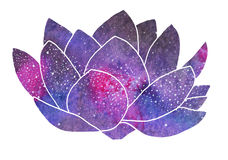 Galaxy lotus. Hand-drawn cosmic flower royalty free stock photo