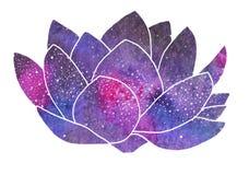 Galaxy lotus. Hand-drawn cosmic flower Royalty Free Stock Photo