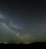 Galaxy Milky Way in the night sky with bright stars. Astrophotog Stock Image