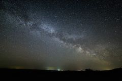 Galaxy Milky Way in the night sky with bright stars. Astrophotog Royalty Free Stock Image