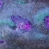 Galaxy or Milky Way. Watercolor space or cosmic Stock Image