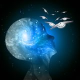 Galaxy mind time flies stock illustration