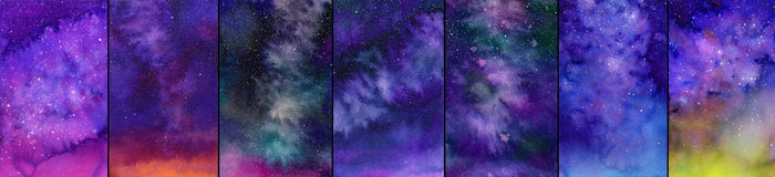 Galaxy or night sky set. Watercolor illustrations. Galaxy or night sky. Set of watercolor space or cosmic backgrounds. Hand-drawn decorative elements useful for Stock Images