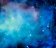 Galaxy or night sky with stars. Hand drawn cosmic background. Colorful watercolor galaxy or night sky with stars Royalty Free Stock Photo