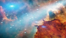 Galaxy pattern wallpaper, clouds, stars royalty free illustration