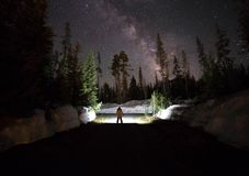 Galaxy photo at forest Royalty Free Stock Photos