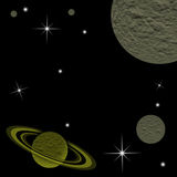 Galaxy planet. In black starry background Stock Image