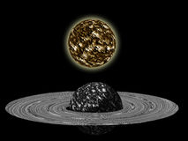 Galaxy planet. In black starry background Stock Photo
