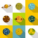 Galaxy planet icon set, flat style. Galaxy planet icon set. Flat style set of 9 galaxy planet vector icons for web design Stock Images