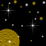 Galaxy planet. S in black starry background Royalty Free Stock Image