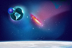 Galaxy. Planet and Galaxy Shine in the space. Colourful Background Stock Photography