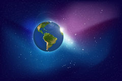 Galaxy. Planet and Galaxy Shine in the space. Colourful Background Stock Photo