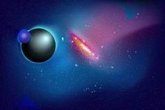 Galaxy. Planet and Galaxy Shine in the space. Colourful Background Royalty Free Stock Images
