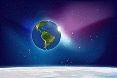 Galaxy. Planet and Galaxy Shine in the space. Colourful Background Royalty Free Stock Photo