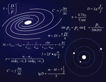 Galaxy and planets. Illustration with formulas royalty free illustration