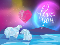Galaxy and polar bears background for web, banners, flayers, cards. I love you lettering. Heart. Vector illustration Royalty Free Stock Photos