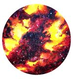 Galaxy red and yellow black watercolor illustration background for text in circle royalty free illustration