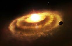 Galaxy ring nebula, space cataclysm. Illustration Stock Photo