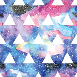 Galaxy seamless pattern. Galaxy seamless pattern with triangles and geometric shapes. Vector trendy illustration Stock Images
