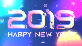Galaxy shining vector 2019 new year background. Gitch 2019 happy new year vector background. Bright neon sun, cyber planets, particles, quantum. Holiday stock illustration