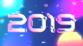Galaxy shining vector 2019 new year background. Gitch 2019 happy new year vector background. Holiday template cover. Bright neon sun, cyber planets, particles vector illustration