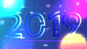Galaxy shining vector 2019 new year background. Neon 2019 happy new year vector background. Bright sun, cyber planets, particles, quantum. Holiday template cover royalty free illustration