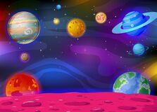 Galaxy Space View With Planets and Stars in Background Cartoon