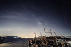 China Galaxy in Taihu JiangSu. Galaxy and star trails photograph in Taihu JiangSu province where has light pollution royalty free stock photos