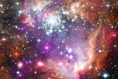 Galaxy, starfield, nebulae, cluster of stars in deep space. Science fiction art vector illustration