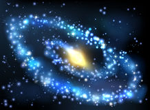 Galaxy and Stars Outer Space Background. A stars outer space background with milky way style spiral galaxy Stock Photo