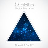 Galaxy into triangle. Vector cosmos illustration with stars and galaxy on dark background Stock Photo