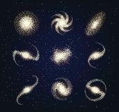 Galaxy types astronomy abstract vector. On blue Royalty Free Stock Image