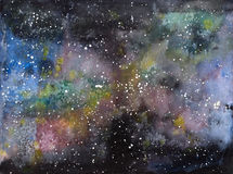Galaxy Universe Cosmos Watercolor Illustration Royalty Free Stock Photography