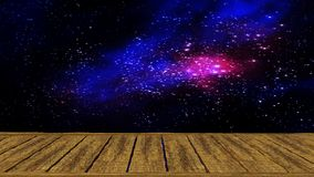 Galaxy view with wood plate Stock Photo