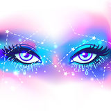 Galaxy in your eye. Vector bright colorful cosmos background. Ma Stock Images