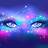 Galaxy in your eye. Vector bright colorful cosmos background. Ma Stock Photo