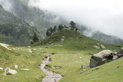 Galbe valley in Pyrenees Stock Photo