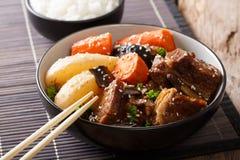 Galbi jjim韩语炖了与米特写镜头的牛肉牛排骨 Ho 免版税库存图片