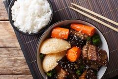 Galbi jjim eller Kalbi Jim - korean bräserade korta stöd för nötkött med ri fotografering för bildbyråer