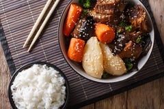 Galbi jjim Korean Braised Beef Short Ribs with rice close-up. Ho stock photos